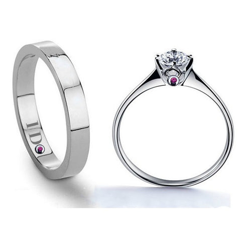 Personalized 925 Sterling Silver Diamond Couple Rings