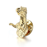 Back to Jurassic Brooch 925 Sterling Silver Gold Plated