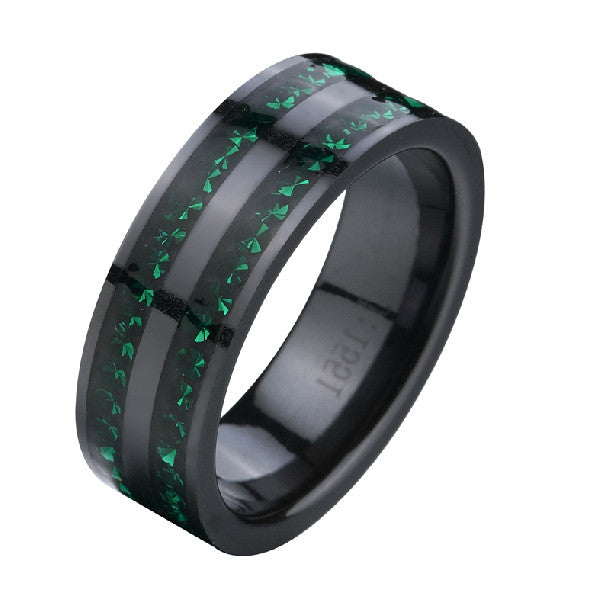 Personalized Black Crystal Inlaid Ceramic Men's Ring