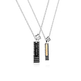 Grid Pattern Bars Titanium Steel Couple Necklaces