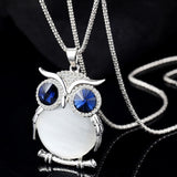 Cute Owl Crystal Sweater Necklace