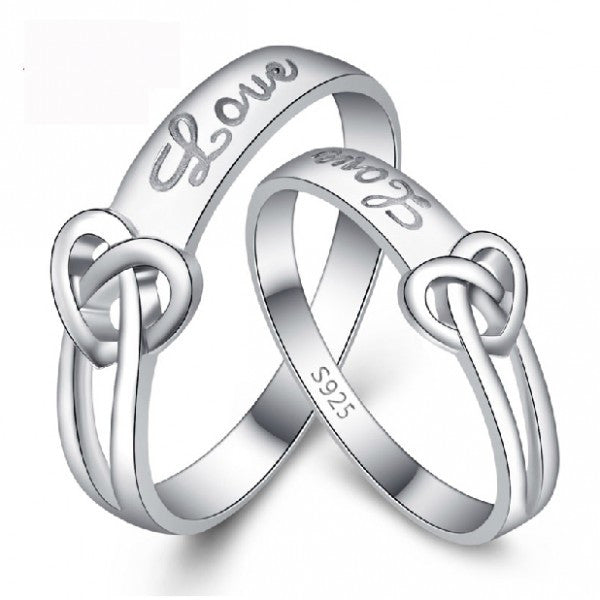 Tie the knot female 925 silver couple rings
