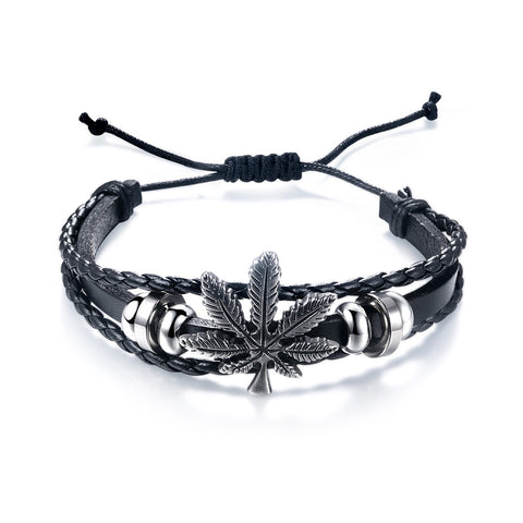 Marijuana Leaf Leather Weave Men Bracelets