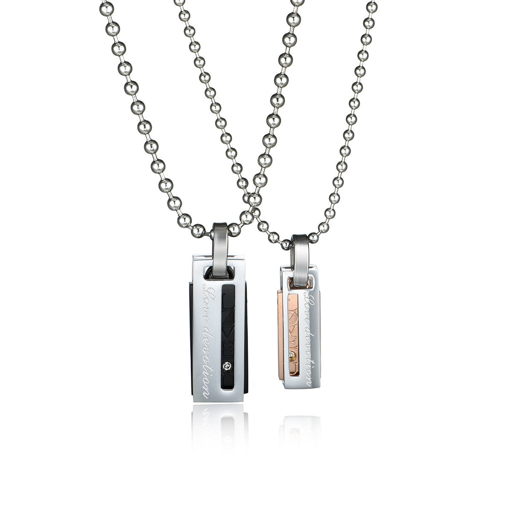 Personalized Engraved Crystal Bar Titanium Steel Couple Necklaces