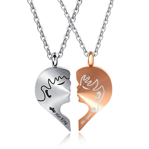 His Queen and Her King Matching Heart Titanium Steel Couple Necklace