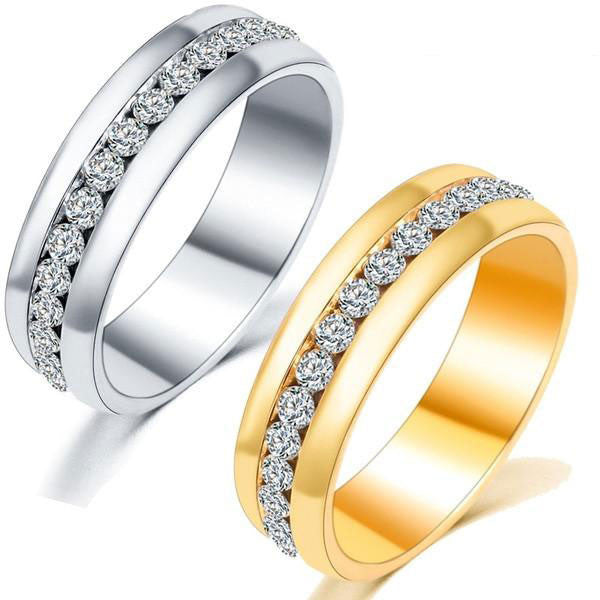 Unisex Classic Crystal Rhinestone Couple Rings