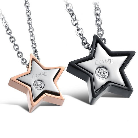 Star of Love Stainless Steel Couple Necklaces