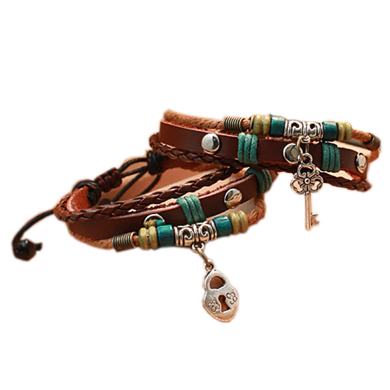 Couple Vintage Bracelets Daily Key And Lock Leather Brown