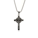 The Cricifixion Figure Titanium Steel Black Necklace