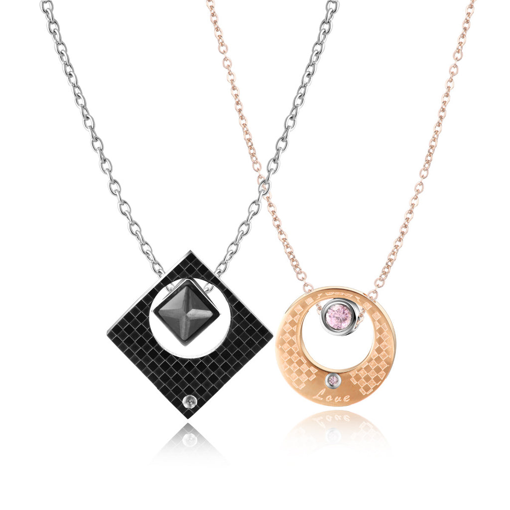 Geometric Shape Stainless Steel Couple Necklace Evermarker