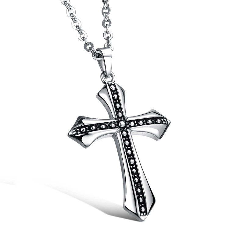 Men's Necklace Daily Cross Titanium Steel Silver
