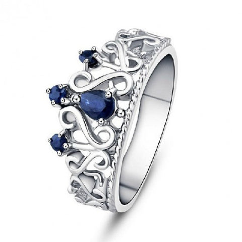 Crown Style Natural Blue Sapphire 925 Sterling Silver Ring