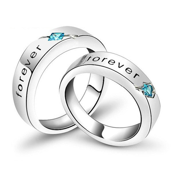 New Romantic Forever Letter Cubic Zirconia 925 Sterling Silver White Gold Plated Lovers Rings