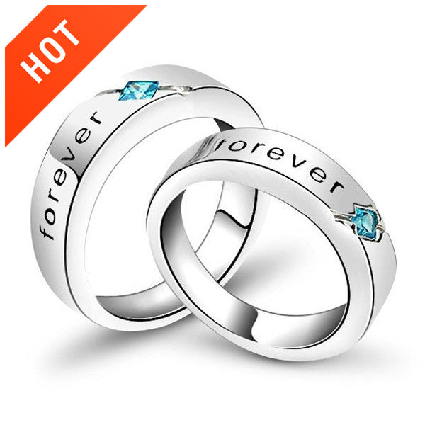 933d3677c7 New Romantic Forever Letter Cubic Zirconia 925 Sterling Silver White Gold Plated  Lovers Rings. Images / 1 / 2 / 3 / 4