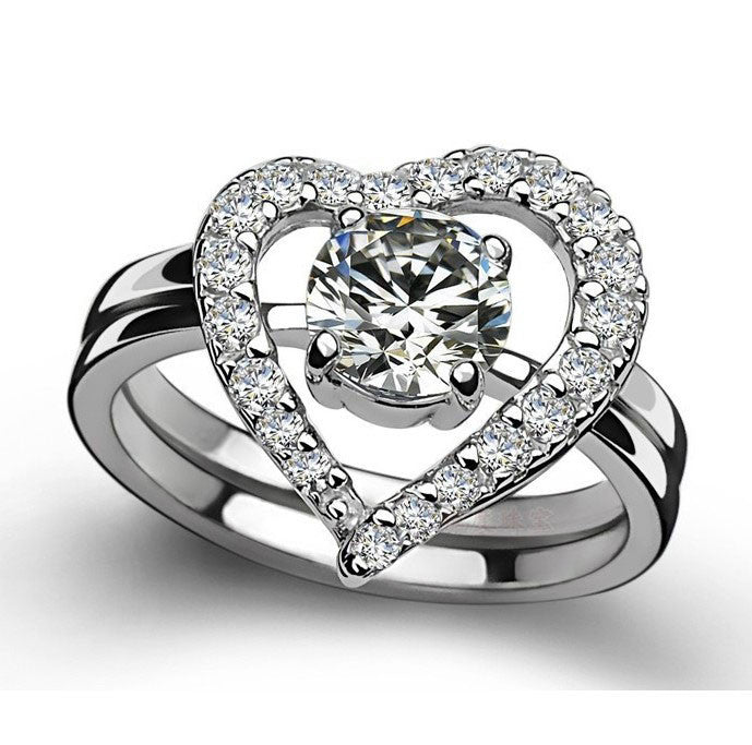 Women's Engagement Rings Wedding Heart-shaped 925 Sterling Silver Silver