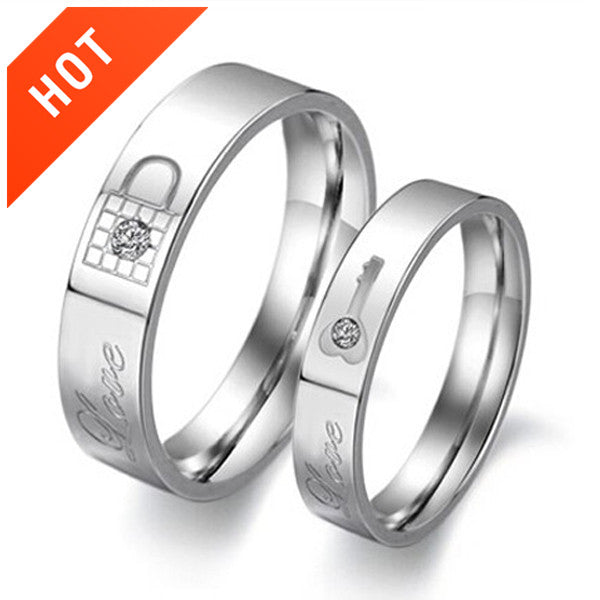 Key And Lock Titanium Steel Couple Rings