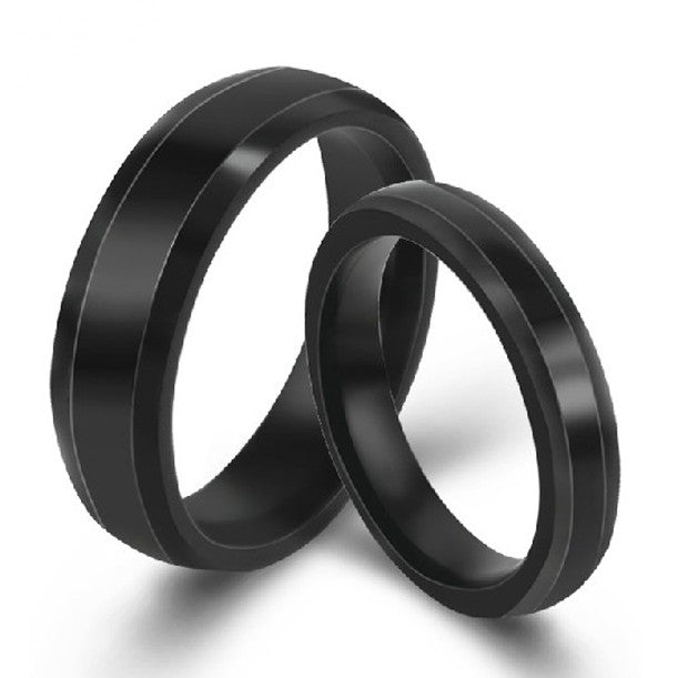 Personalized Titanium Steel Black Lover Rings Couple Bands