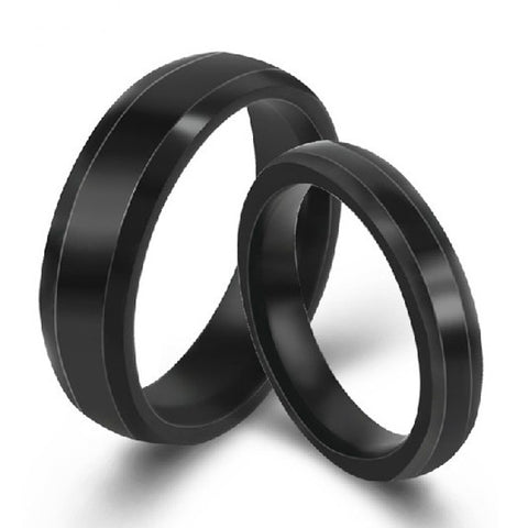 Personalized Engravable Titanium Steel Black Lover Rings Couple Bands