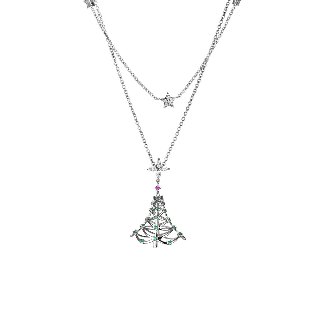 Christmas Tree Little Star 925 Sterling Silver Double Layers Pendant Necklace