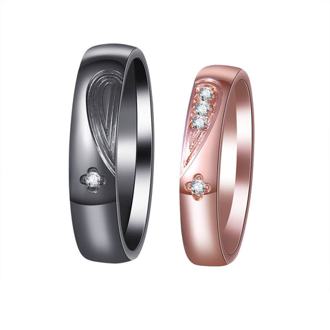 Titanium Crystal Heart-shaped Mosaic Lovers Couple Rings