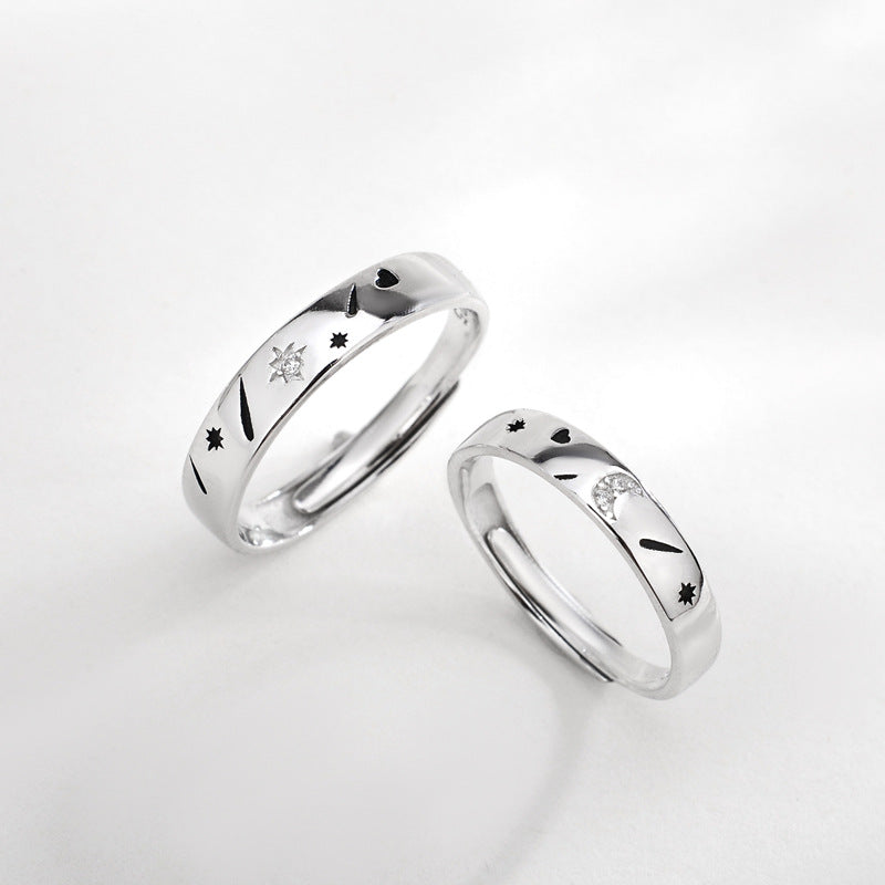 Moon And Star Sterling Silver Couple Rings (Adjustable Size)