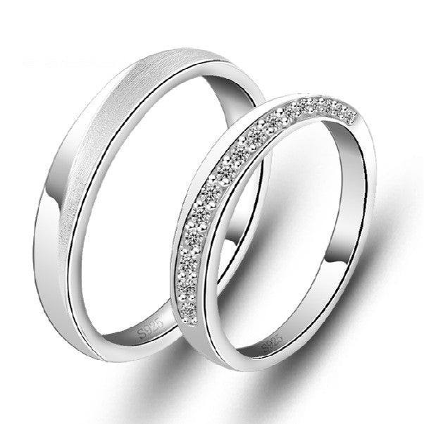 925 Sterling Silver Platinum Plated CZ Lovers Rings