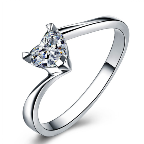 Love Shaped Zircon Silver Engagement Ring