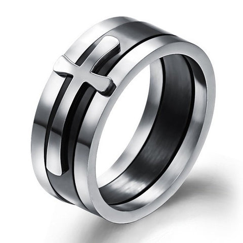 Three-In-One Detachable Stainless Steel Cross Men's Ring