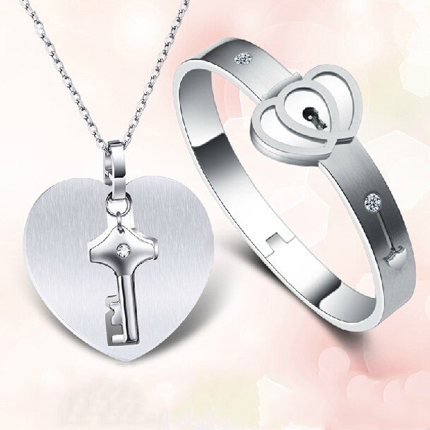 Personalized Men's Key Necklace Women's Lock Couple Bracelets