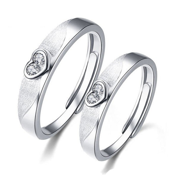 Adjustable Dull Polish 925 Sterling Silver Couple Heart Ring - EverMarker