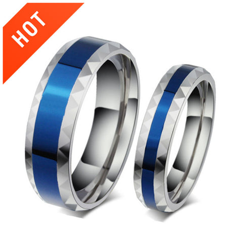 Blue Silver Edge Titanium Steel Couple Rings