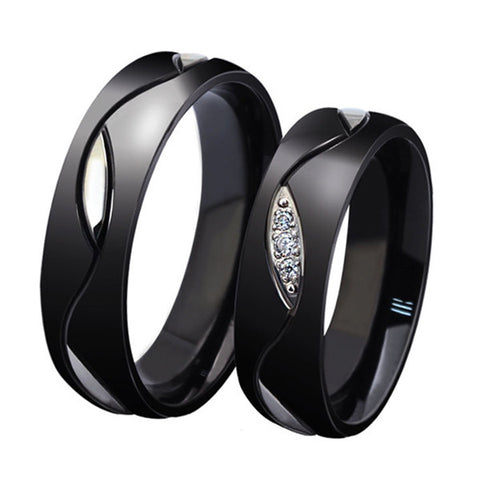 Lover's Black Titanium Zircon Inlay Couple Rings