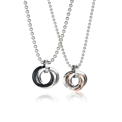 Combination Rings Series Titanium Steel Couple Necklaces