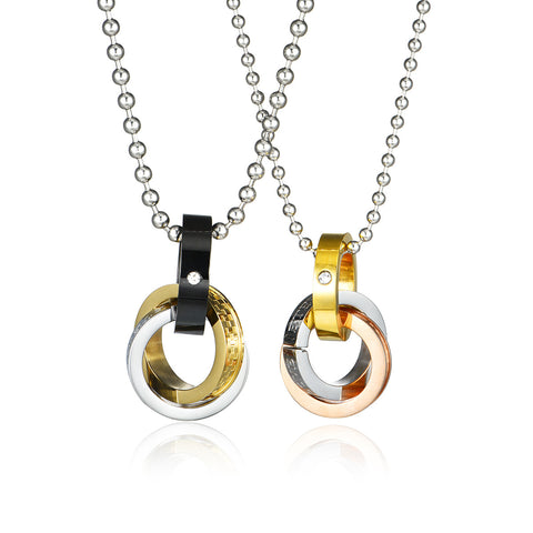 Combination Ring Series Triple Rings Three Colors Titanium Steel Couple Necklaces
