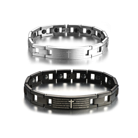 Personalized Letter Design Titanium Steel Silver Couple Bracelets