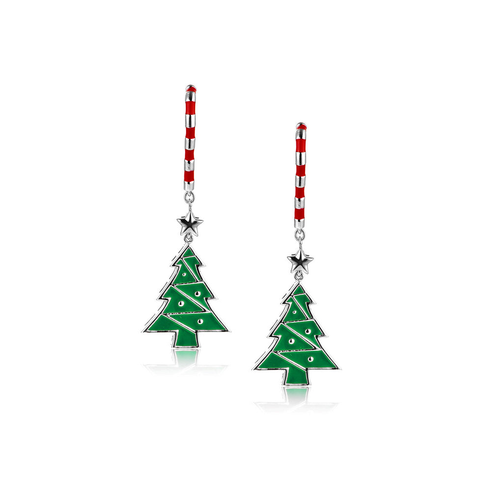 Christmas Tree & Star 925 Sterling Silver Drop Earrings