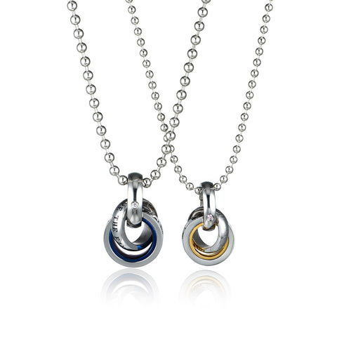 Combination Ring Series Double Rings Love Words Engraved Titanium Steel Couple Necklaces