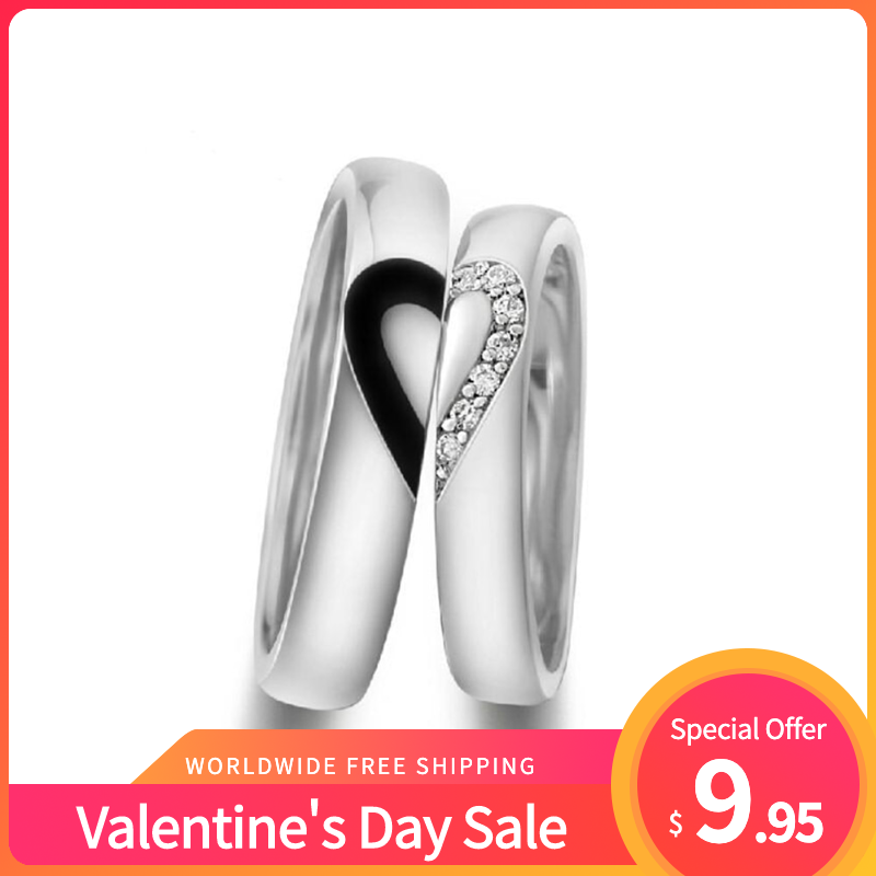 Valentine's Day Sale 925 Sterling Silver Lover's Matching Heart Couple Rings