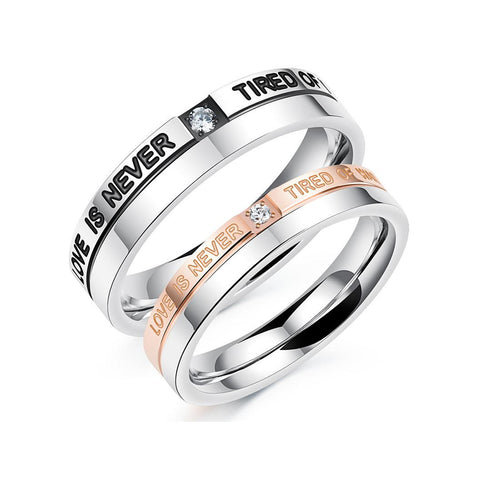 Love is Never Tired of Waiting Couple Rings