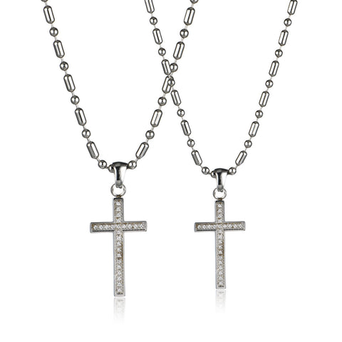 Love Cross Series Rhiensone Inlaid Silvery Titanium Steel Couple Necklace