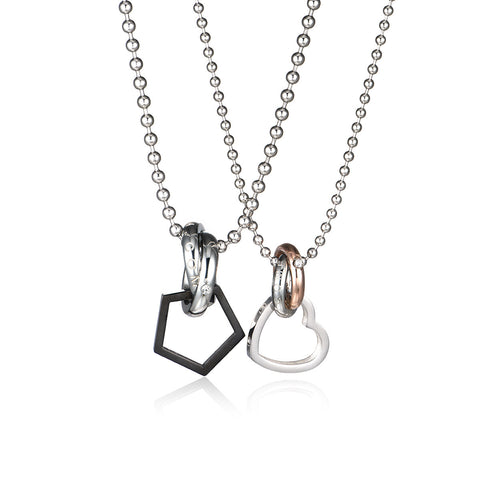 Combination Ring Series Titanium Steel Couple Necklaces