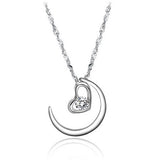 Crescent moon Platinum Plated Women Necklace