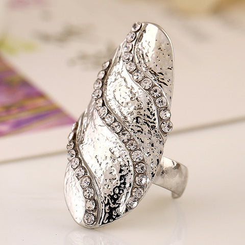 Cubic Zircon Inlaid Wave Nail Ring