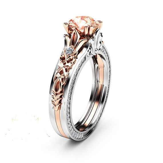f44df53f8f474b 1 Carat Round Created Morganite Vintage 925 Sterling Silver Engagement Ring