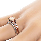 1 Carat Round Created Morganite Vintage 925 Sterling Silver Engagement Ring