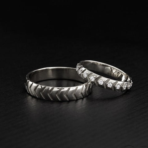 His And Hers Unique Diamond 925 Sterling Silver Couple Promise Rings