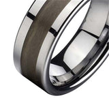Personalized Tungsten Ring with Wood Inlay