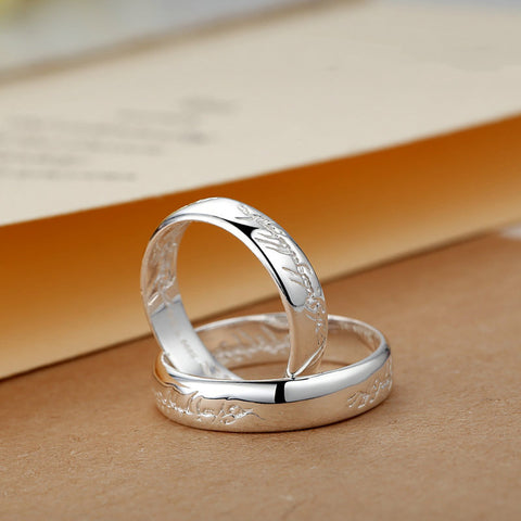 """Always In Love"" Silver Couple Rings"