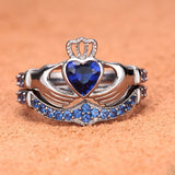 Blue Diamond Claddagh Engagement Ring