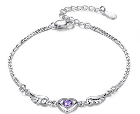 Heart-shaped Purple Stone Charm Bracelet